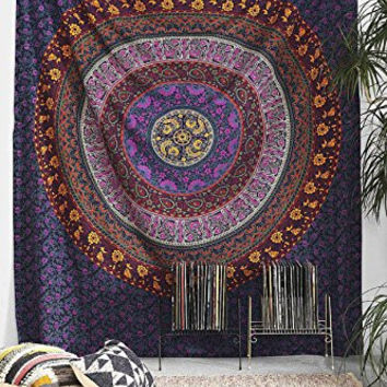 Tapestry, Hippy Mandala Bohemian Tapestries, Indian Dorm Decor, Psychedelic Tapestry Wall Hanging Ethnic Decorative