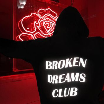 *Broken Dreams Club Reflective Hoodie Black Tumblr Inspired Aesthetic Pastel Grunge Aesthetics Unisex tumblr black hoody