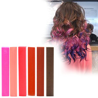MACAROONS | A pack of 6 Hair Chalks for your highly vibrant hair coloring - hot pink, salmon, raspberry, brown, chocolate & cocoa!