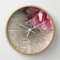 Vintage French Dictionary and Pink Peony Wall Clock by Brooke Ryan Photography