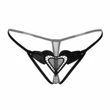ESBONHC New Love Heart Beading Sexy Women G-String Sexy Panties Underwear G String 7 Colors