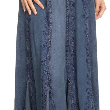 Sakkas Monica Womens Gypsy Bohemian Long Maxi Skirt with Elastic Waist and Lace