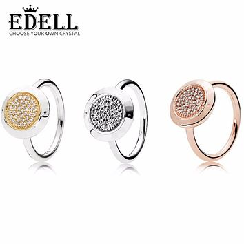 EDELL New 100% 925 Sterling Silver Clear CZ Ring Compatible with Rings Fashion Jewelry For Women Wedding Birthday Gift