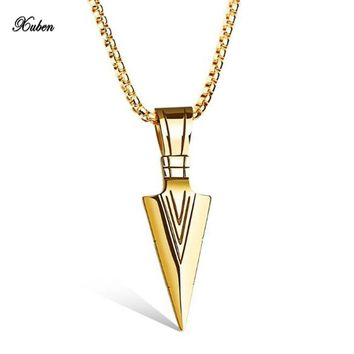 Xuben Xuben Men Vintage Spearhead Arrowhead Pendant Necklace Chocker Stainless Steel Jewelry colar