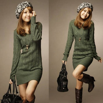 New Design Long Sweaters 2014 Autumn Winter Women Fashion Pullovers Jumper Fall 3 Solid Color O-neck Basic Knitted Sweater Dress