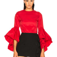 Marques ' Almeida Oyster Sleeve Top in Red | FWRD