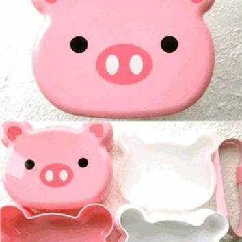 Animal Bento Box Lunch Box Pig 2 Tier with a Belt