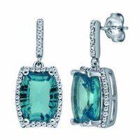 Sterling Silver Concave Cut Sky Blue Topaz and Diamond Dangle Earrings: Jewelry: Amazon.com