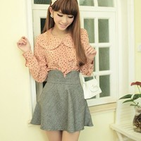 Women Grey Woollenet High Waist Dress With Belt Belt S/M/L@MF9808g