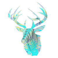 "Ingrid Beddoes ""Aqua Swirl"" Blue Paint Bucky Deer Bust Jr."