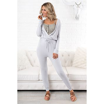 Accompany Me Surplice Jumpsuit (Silver)