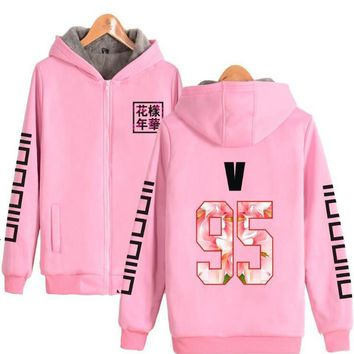 Winter Moletom BTS KPOP Pink Hoodie Women Men K POP K-POP BTS Bangtan Boys Warm Fleece Coat Zip-Up Outerwear Hooded Sweatshirts