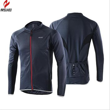 ARSUXEO Men and Women Cycling Windcoat  Bike Clothing Running Jacket Windproof Fast-drying Long Sleeves Cycling Jersey