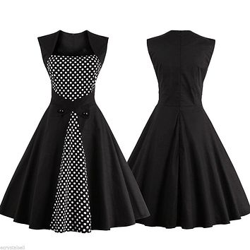 50's Inspired Polka Dot Swing Dress, Sizes Small to 4XLarge
