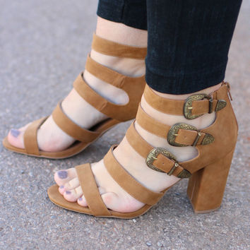 Uptown Girl Strappy Open Toe Heel ~ Camel