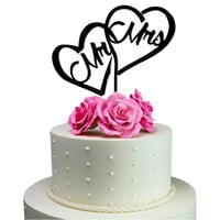 Wedding Cake Topper Mr - Mrs inside the Heart Decoration