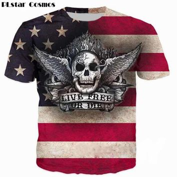 Live Free or Die USA Skull Print T Shirt Short Sleeve