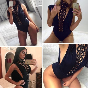 Slim eyelash lace halter v neck sexy bodysuit