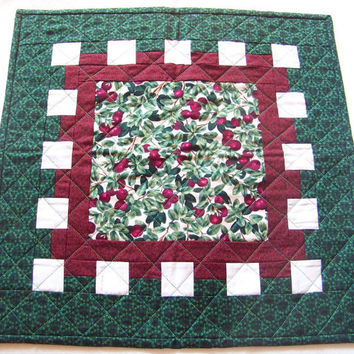 Table Topper Quilted Cherry Motif HandmadeSquare Dining Decor