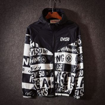 """EVISU"" Couple Unisex Multicolor Pattern Print Zip Hooded Cardigan Jacket Rash Guards"