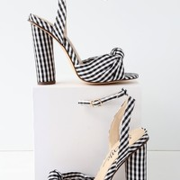 Nessa Black and White Gingham Ankle Strap Heels