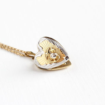 Vintage Gold Filled & Silver USA Marine Corps Heart Locket Necklace - 1940s WWII Era Eagle Globe Anchor Photograph Sweetheart Jewelry