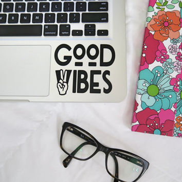 Good Vibes Laptop, Car Vinyl Decal Sticker, Good Vibes Only Hippie Decal, Macbook Decal, Peace and Love Quote Decal