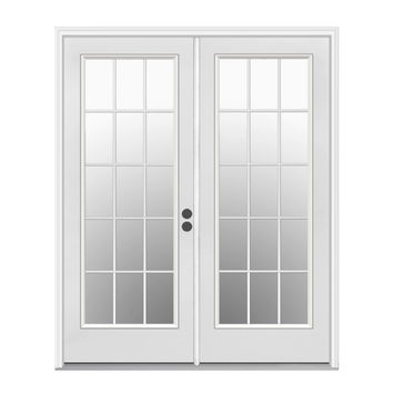 Shop ReliaBilt 59.5-in 15-Lite Glass Primer White Steel French Inswing Patio Door at Lowes.com