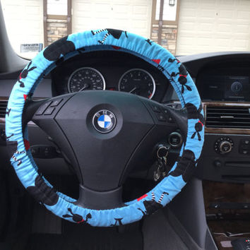 Alice in Wonderland on Blue Steering Wheel Cover