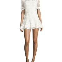 Jonathan Simkhai Truss Lace Appliqué Fit & Flare Mini Dress, White