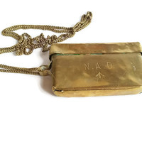 Vintage Brass Box On Chain . WW I brass container . War Memorabilia . Small Copper Tin . NAD Brass Tin .