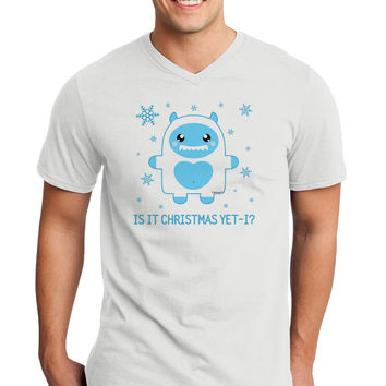 Is It Christmas Yet - Yeti Abominable Snowman Adult V-Neck T-shirt