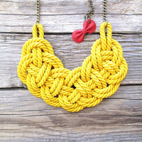 Yellow rope necklace Rope knot necklace by NasuKka on Etsy
