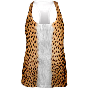 Halloween Cheetah Costume All Over Womens Work Out Tank Top
