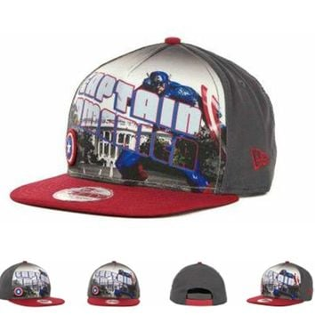 Marvel Captain America Hero Post Snapback 9fifty Cap1 Cap Snapback Hat - Ready Stock