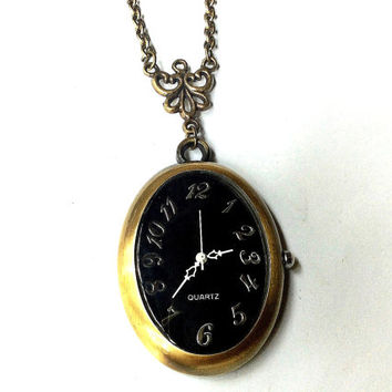 vintage oval watch necklace, antique gold pocket watch, filigree charm