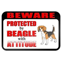 "Beware Protected by Beagle with Attitude 9"" x 6"" Metal Sign"