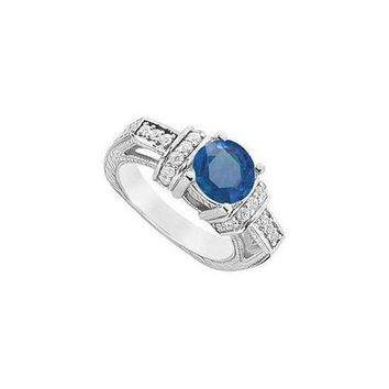 DCCKU7Q Sapphire and Diamond Engagement Ring : 14K White Gold - 2.50 CT TGW