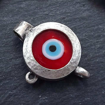 Red Evil Eye Pendant, Evil Eye Charm, Glass Evil Eye, Lucky Bead, Turkish Eye, Greek Eye, Bracelet Pendant, Matte Antique Silver Plated 1pc