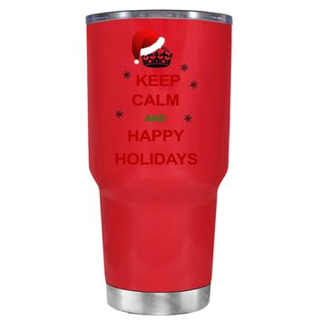 TREK Keep Calm and Happy Holidays on Red 30 oz Tumbler Cup