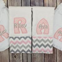 Twin Burp Cloth Bib Set- Pink and Grey Burp Cloth and Bib Set for Twin Baby Girls - Monogrammed Personalized Burp Cloth Set Custom Bib Gift