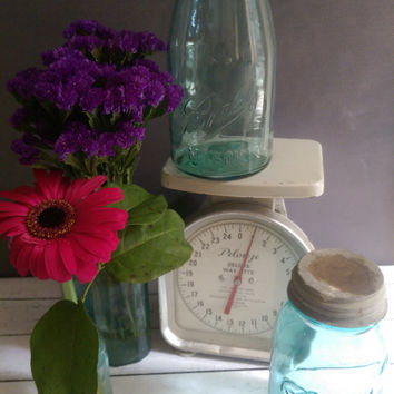 Antique Blue Ball Mason Jar/ Green Ball Mason Jar/ Handblown Glass Mason Jar/ Ball Mason 4