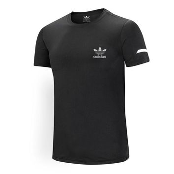 ADIDAS Clover 2018 autumn new sports casual breathable round neck T-shirt black