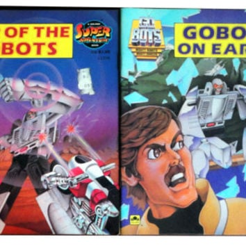 GOBOTS vintage book lot War of the Go Bots On Earth Golden Super Adventure 9180s cartoons Transformers