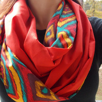 Colorful ikat infinity scarf