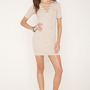 Ribbed Lace-Up Bodycon Dress | Forever 21 - 2000153323