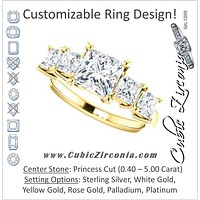 Cubic Zirconia Engagement Ring- The Abril (Customizable 5-stone Princess Cut Style with Quad Princess-Cut Accents)