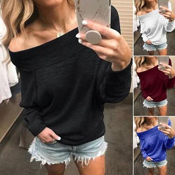 Womens Hoodies Fashion Long Sleeve Solid Color Off The Shoulder Loose Tops