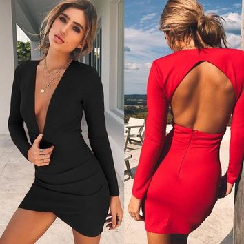 LMFONS Women Fashion Simple Solid Color Bodycon Deep V-Neck Backless Hollow Long Sleeve Irregular Mini Dress
