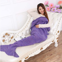 Home Creative Hand Made Warm Knitted Mermaid Tail Shape Blanket Fashion Air Condition Soft Blanket 7 Colors